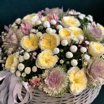 Композиция №206 цветы в корзине