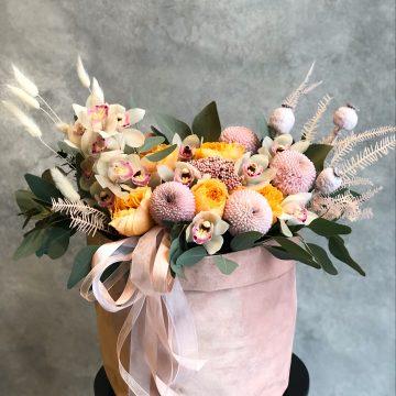 Композиция №404 цветы в бархатном мешочке